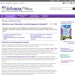 Éducation au développement durable - Qu'est-ce que l'éducation au développement durable ?