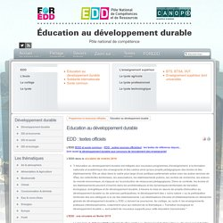 EDD : les textes - Education au développement durable