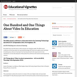 One Hundred and One Things About Video In Education