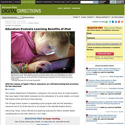 Educators Evaluate Learning Benefits of iPad