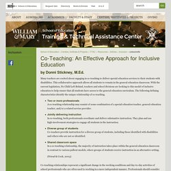 W&M School of Education - Co-Teaching: An Effective Approach for Inclusive Education