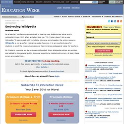 Embracing Wikipedia