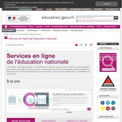 Services en ligne de l'éducation nationale - Ministère de l'éducation nationale