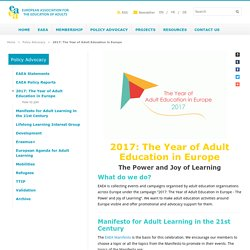 2017: The Year of Adult Education in Europe - European Association for the Education of Adults