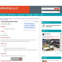 Evaluating Web Sites: A Middle School Lesson Plan