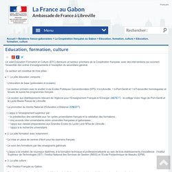 Education, formation, culture - La France au Gabon