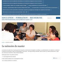 Le mémoire de master « Education - formation - recherche