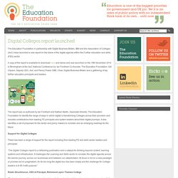 The Education Foundation – the UK's education think tank » Blog Archive Digital Colleges report launched - The Education Foundation – the UK's education think tank