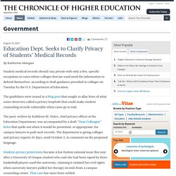 Education Dept. Seeks to Clarify Privacy of Students' Medical Records - Government