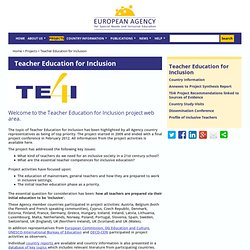 Teacher Education for Inclusion — European Agency for Development in Special Needs Education
