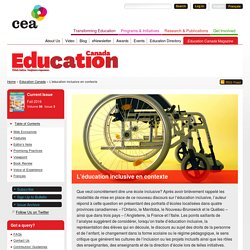 L'éducation inclusive en contexte