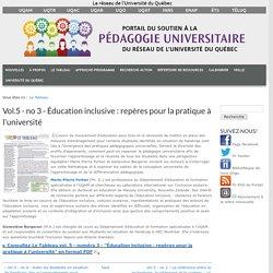 Vol.5 - no 3 - Éducation inclusive : repères pour la pratique à l'université