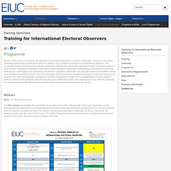 Education > Training for International Electoral Observers - Programme - EIUC