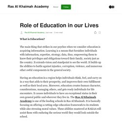 Role of Education in our Lives. What is Education?
