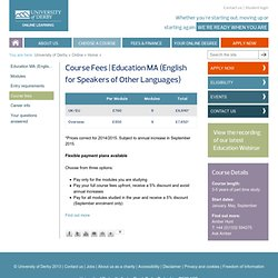 Education MA (English for Speakers of Other Languages)