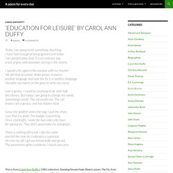 'Education for Leisure' by Carol Ann Duffy