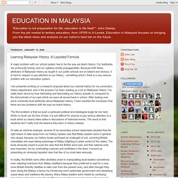 Learning Malaysian History: A Lopsided Formula