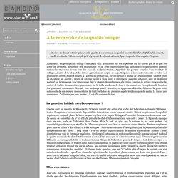 Education & Management - A la recherche de la qualité unique