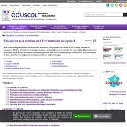 Éducation aux médias et à l'information - Éducation aux médias et à l'information au cycle 4