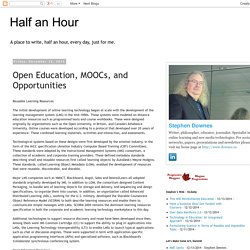 Open Education, MOOCs, and Opportunities