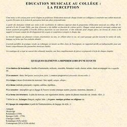 Education musicale au collège : la perception