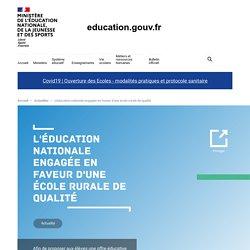 L'éducation nationale engagée en faveur d'une école rurale de qualité