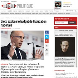 Ciotti explose le budget de l'Education nationale