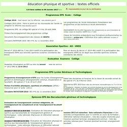 Education Physique et Sportive: les programmes et les examens