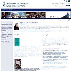 Higher Education Canada – Glen Jones: Ontario Institute for Studies in Education