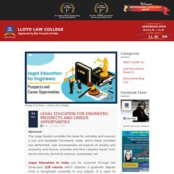 Legal Education for Engineers: Prospects and Career Opportunities