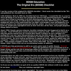 BDSM Education checklist