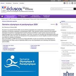 Actions d'éducation sportive - Semaine olympique et paralympique 2020