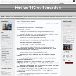 Médias TIC et Education » Archives du Blog » Qu'est ce qu'une ressource pédagogique ?