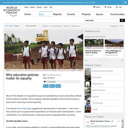 Why education policies matter for equality - Forum:Blog Forum:Blog