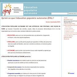 Qu'est-ce que l'éducation populaire autonome (ÉPA) ? - Éducation populaire autonome