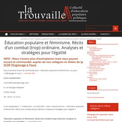 Éducation populaire et féminisme. Récits d'un combat (trop) ordinaire. Analyses et stratégies pour l'égalité