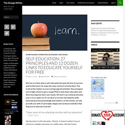 Self Education: 27 Principles and 12 Dozen Links to Educate Yourself for Free