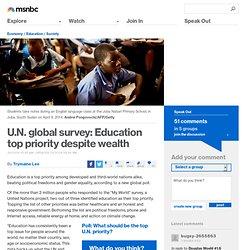 U.N. global survey: Education top priority despite wealth