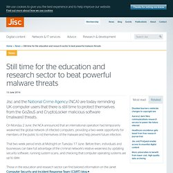 Still time for the education and research sector to beat powerful malware threats