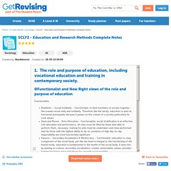 SCLY2 - Education and Research Methods Complete Notes - Revision Notes in A Level and IB Sociology