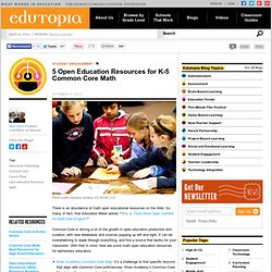 5 Open Education Resources for K-5 Common Core Math