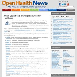 'Open' Education & Training Resources for Healthcare