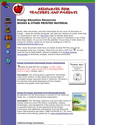 Energy Education Resources - BOOKS & OTHER PRINTED MATERIAL