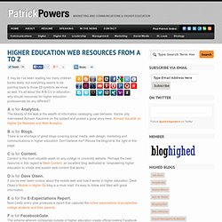 Higher education web resources from A to Z