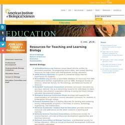 Resources for Teaching and Learning Biology