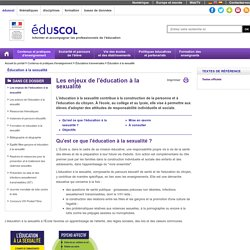 Éducation à la sexualité - Orientations nationales et objectifs de l'éducation à la sexualité