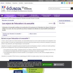 Éducation à la sexualité - Les enjeux de l'éducation à la sexualité