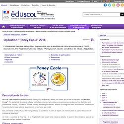 """Sport scolaire - Opération """"Poney Ecole"""""""