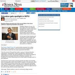 eSchool News Education gets spotlight in SOTU