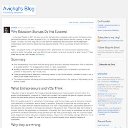 Why Education Startups Do Not Succeed « Avichal's Blog
